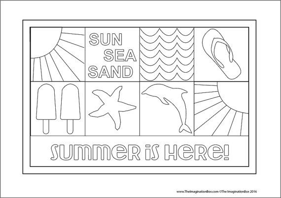 Kids Summer Colouring Pages. Beach themes, tropical fruit ...