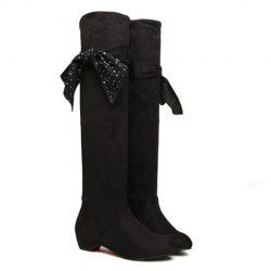 $12.32 Casual Women's Knee High Boots With Black and Flat Heel Design
