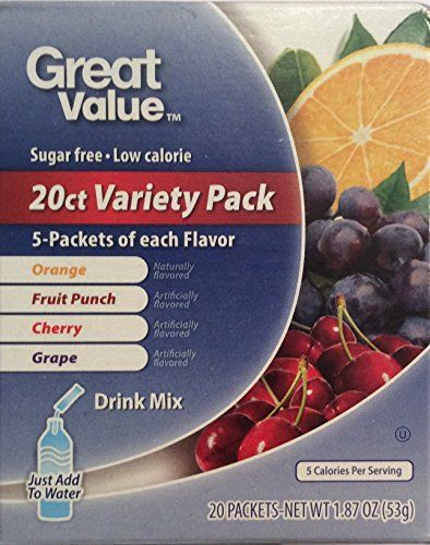 Great Value Sugar Free Low Calorie 20ct Variety Pack Drink Mix 1 Pack Great Value Sugar Free Low Calorie 20ct Variety Mixed Drinks Sugar Free Low Calorie