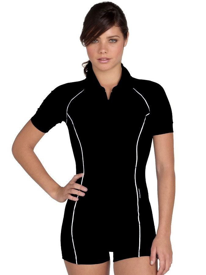 ef92af12 Womens Boyleg Swimsuit - Short Sleeves - by Stingray - Solartex Sun Gear
