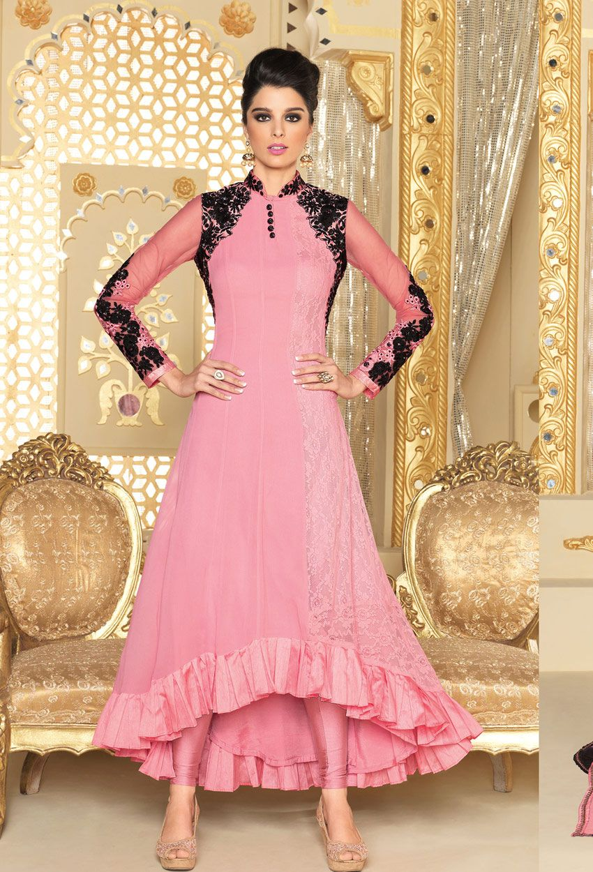 Baby #Pink #Faux #Georgette,#Sleeves #Net #Semi-Stitched #suit ...