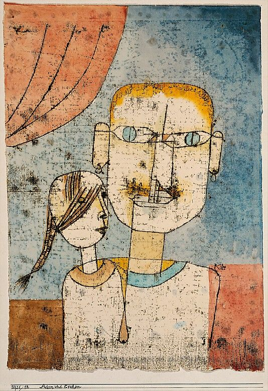 Adam and Little Eve, (1921) | Paul Klee (1878-1940) | Watercolor and transferred printing ink on paper | By placing the figures against a shallow ground with a reddish curtain, Klee seems to set the oddly matched pair on a puppet-theater stage.