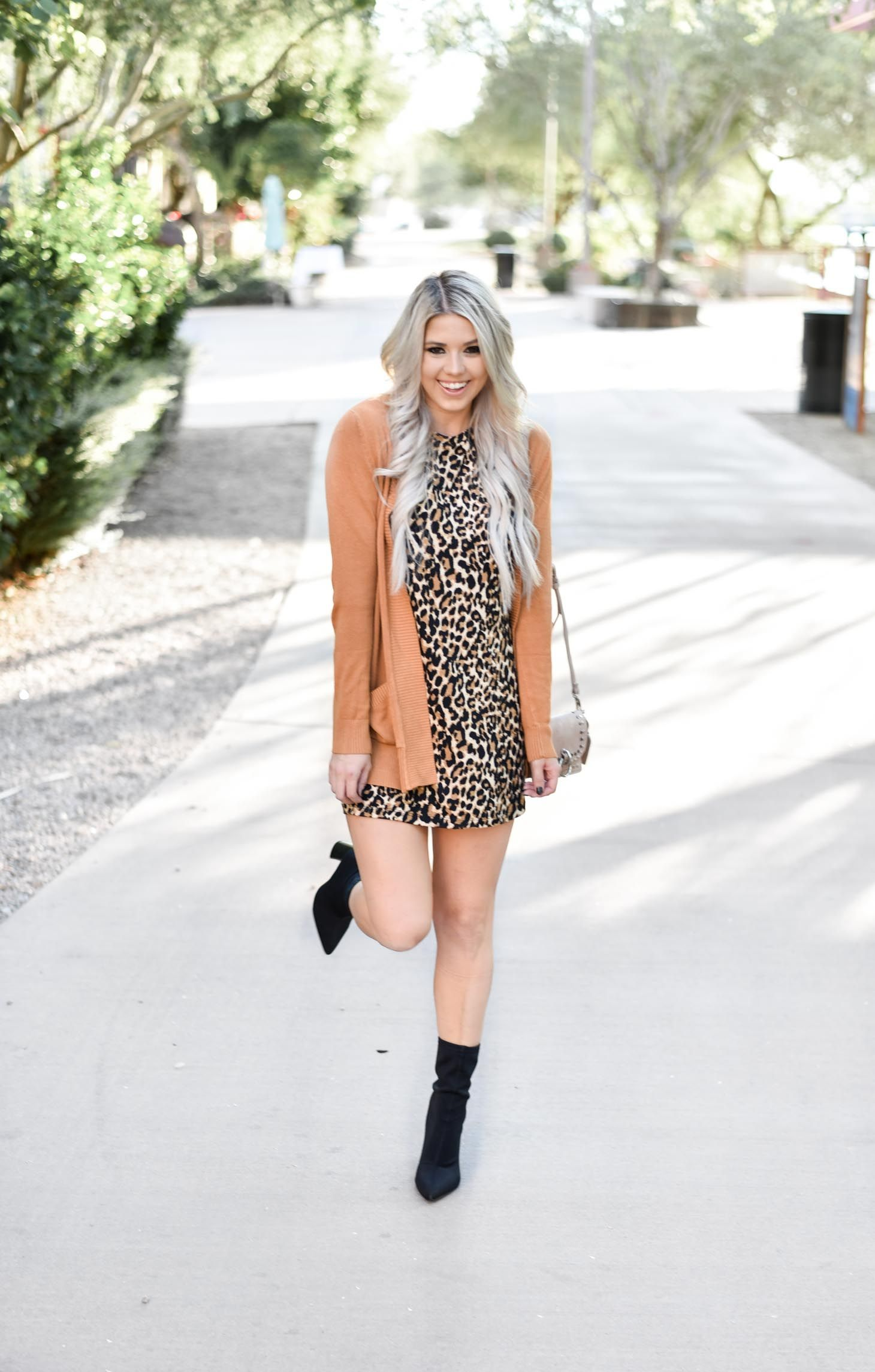 3a656a19cb83 Erin Elizabeth of Wink and a Twirl shares the perfect leopard dress and  cardigan from Pink