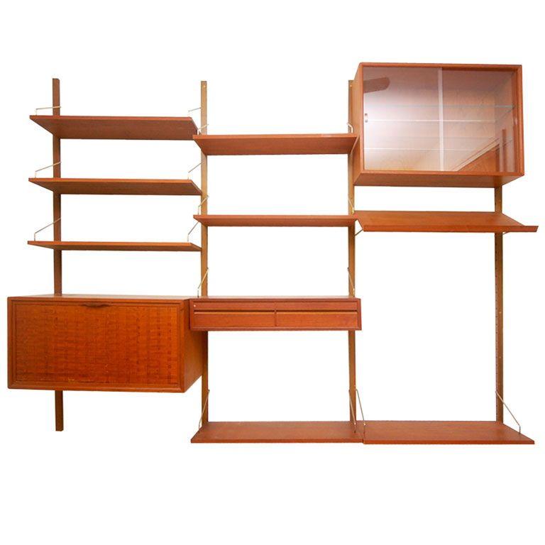 teak danish modern wall shelf unit bookshelf by poul. Black Bedroom Furniture Sets. Home Design Ideas