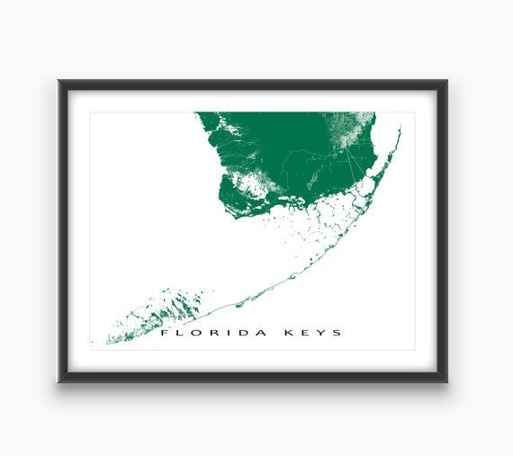 Florida Keys Map Print Key West Map Key Largo