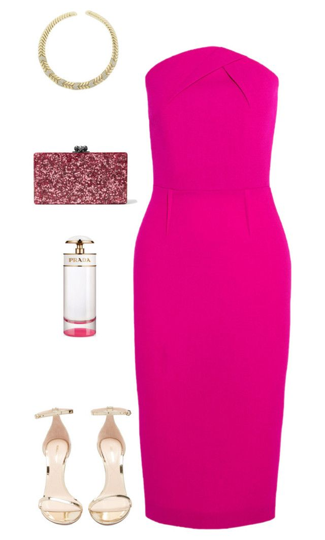 """Untitled #1531"" by nujixo on Polyvore featuring Roland Mouret, Nicholas Kirkwood, Edie Parker, Bulgari and Prada"