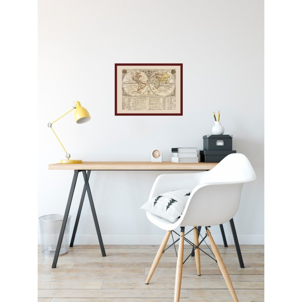 World: Beautiful Old Map Print | Study rooms, Framed maps and ...
