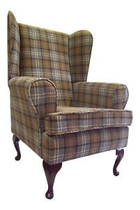 Wing Back Queen Anne Chair Blue Tartan Fabric | eBay ...