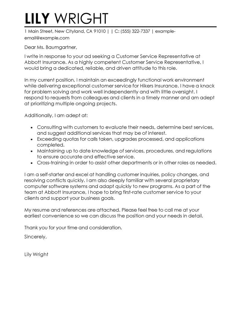 Cover Letter Template For Customer Service Cover Letter Example