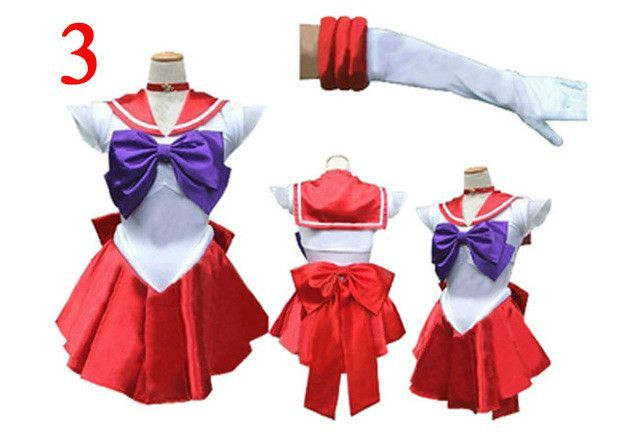 Fashion Anime Sailor Moon Sailor Mars Cosplay Costume Red Uniform Dress Satin