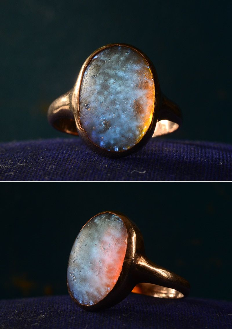1900s Edwardian Dragon's Breath ring, mounted in gold.