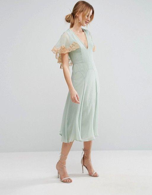 ASOS Lace Cape Midi Dress
