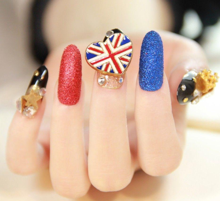 24pcs Fantasy 3D metal diamond fake nail patch long section salon ...