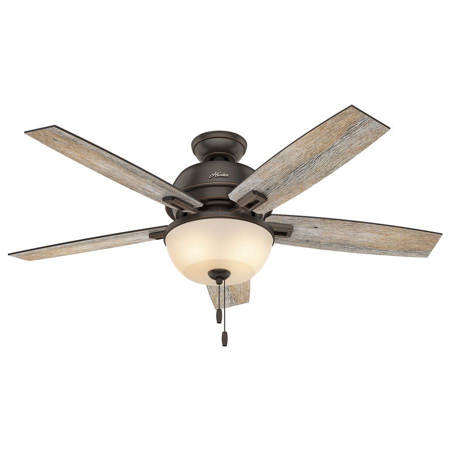 Hunter Donegan 52 In Onyx Bengal Bronze Downrod Or Close Mount Indoor Ceiling Fan With Light Kit Ceiling Fan With Light