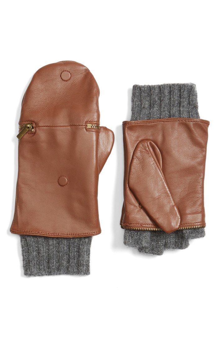 Touch Glitten Knit & Leather Gloves - A sleek zipper easily converts smooth sheepskin mittens to cozy wool-knit gloves for optimal wintertime phone use.