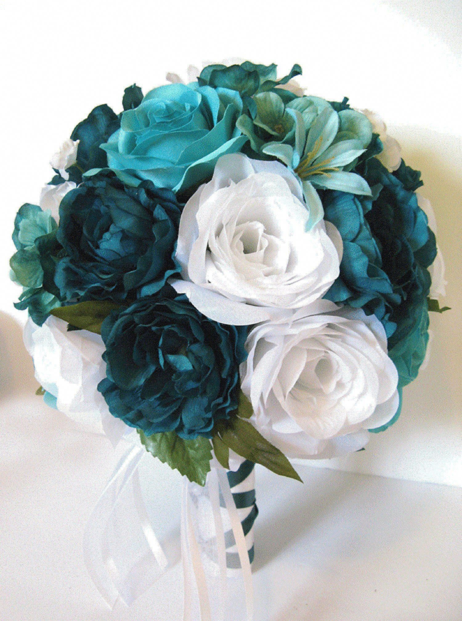 17 Piece Wedding Bouquet Set Bridal Bouquet Package Teal Turquoise Aqua Silk Flower Bouquet Wedding Flowers Bridesmaid Rosesanddreams In 2020 Flower Bouquet Wedding Bridesmaid Flowers Wedding Flower Arrangements