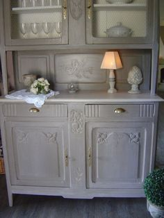 Buffet repeint en gris bahut martine pinterest - Meuble ancien patine gris ...