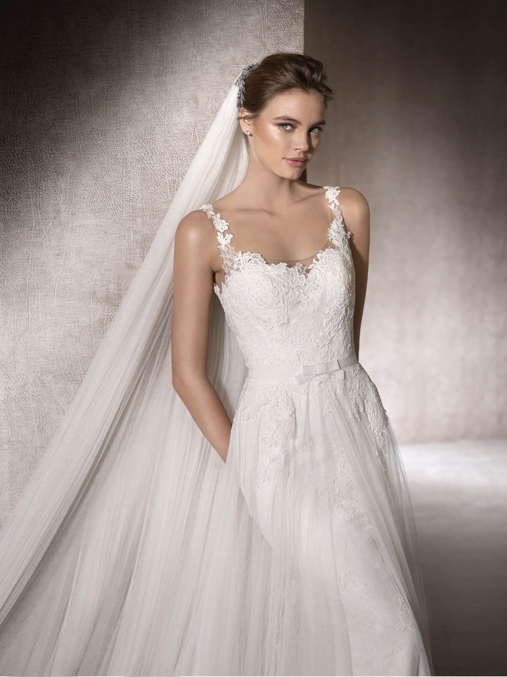 Marisa wedding dress  Wedding dress with square neckline  Monica  robe de mariee  Pinterest