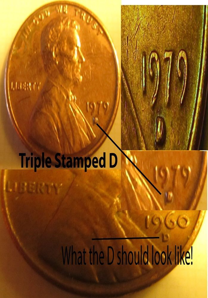 1979 RED PENNY HUGE ERROR TRIPLE STAMPED D LOOK!!!!! | I love this