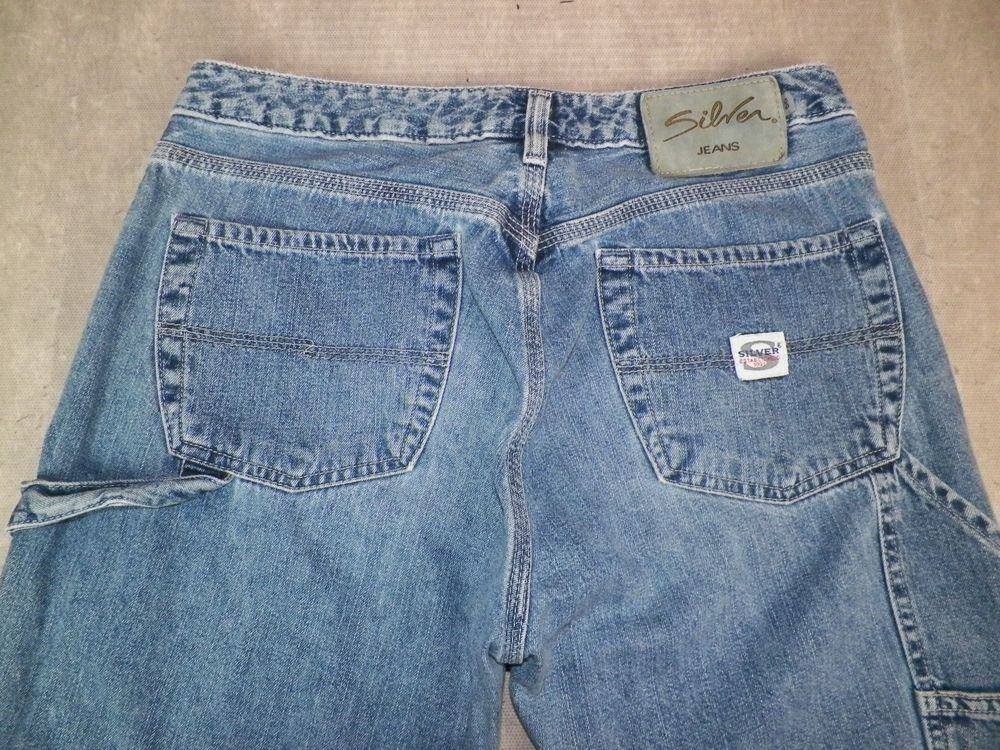 Silver Jeans Womens Sandblasted CARPENTER Denim Jeans Size 30 / 31 ...