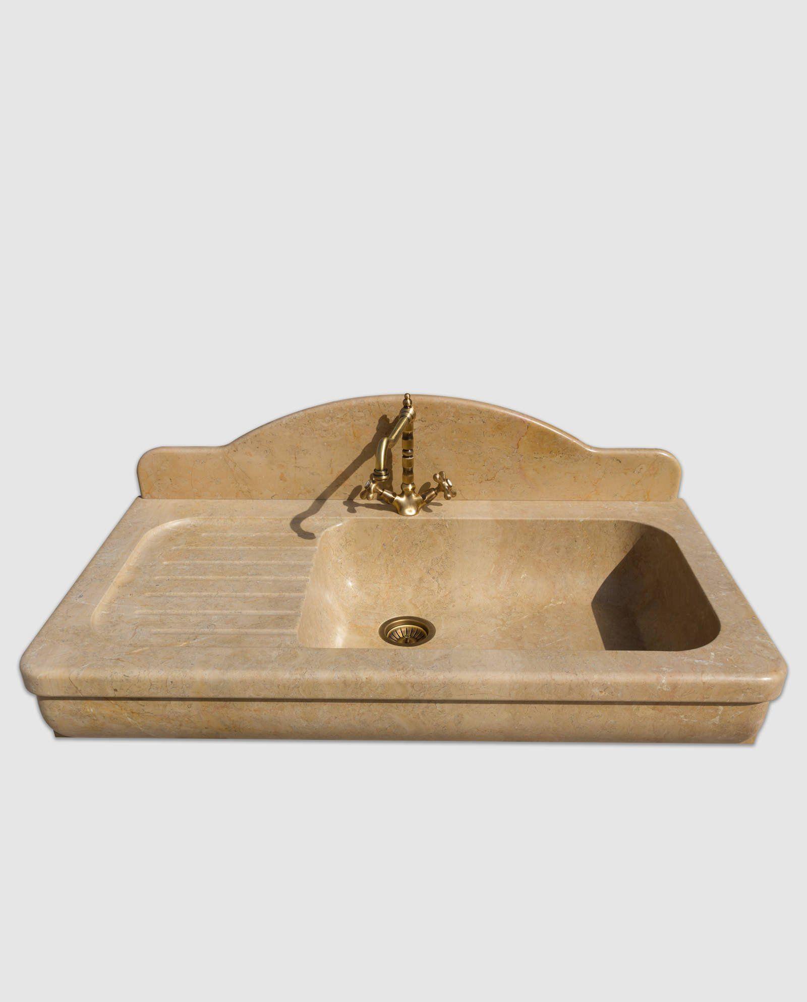 Lavandino Cucina Con Gocciolatoio lavello in marmo mod. amantea con gocciolatoio (con immagini