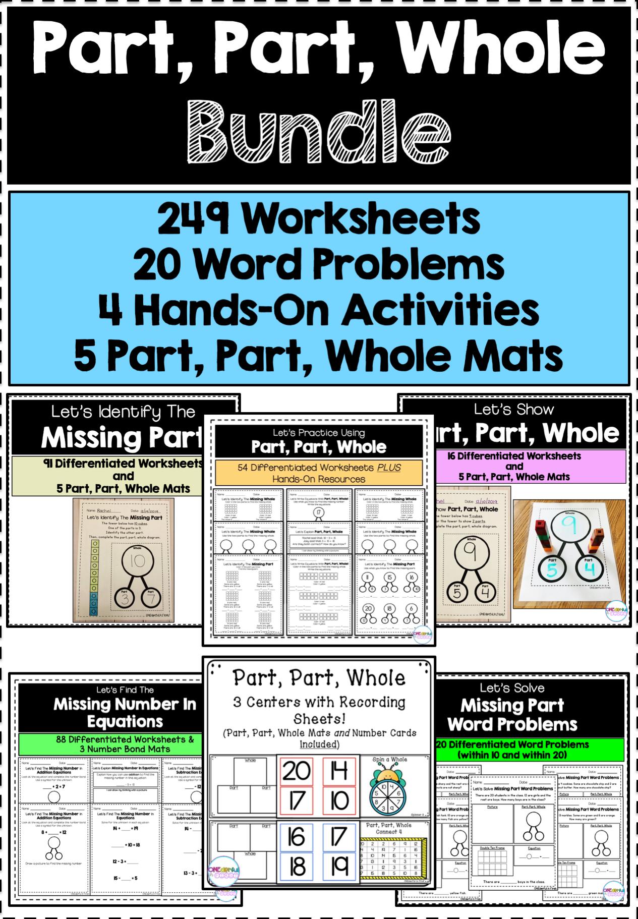 Part Part Whole Bundle 249 Worksheets 4 Centers And 20