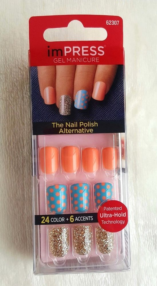 KISS imPRESS Press-On Manicure SWEPT AWAY 24 Color + 6 Accents ...