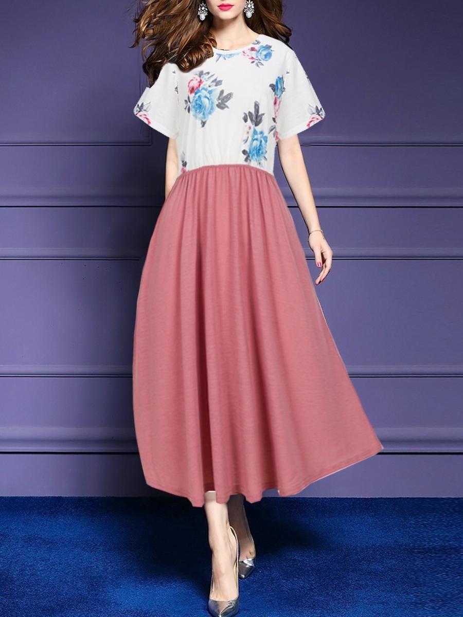 21427de648 #EnvyWe #BerryLook - #berrylook Round Neck Floral Printed Maxi Dress -  EnvyWe.com