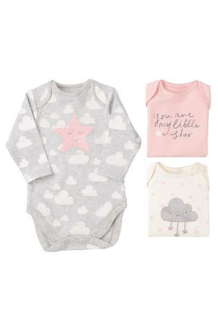 Buy Three Pack Grey Star Bodysuits 0mths 2yrs Online Today At Next