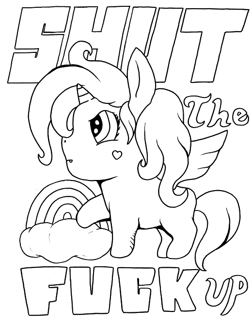 Coloring page for adults with a unicorn and swears. Visit ...