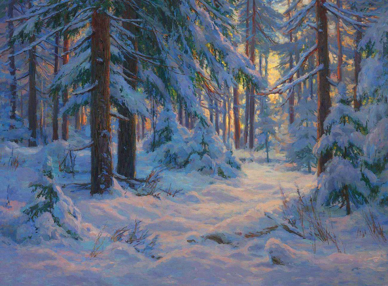 Фото зимний художественный пейзаж леса крыше летом