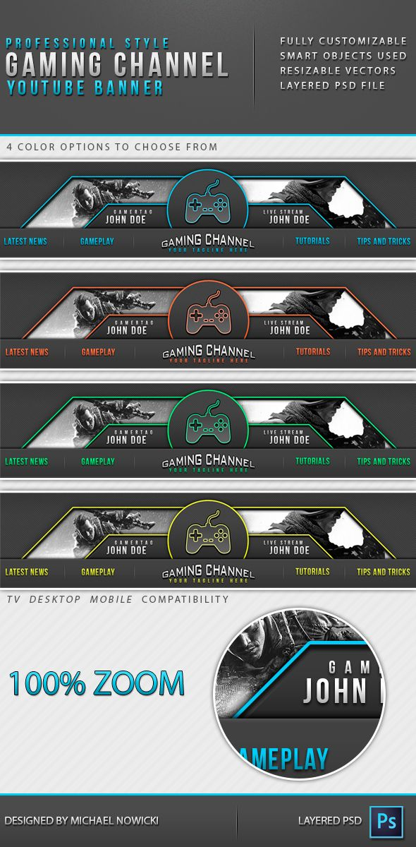 Professional style Gaming Channel Youtube Banner template wasder