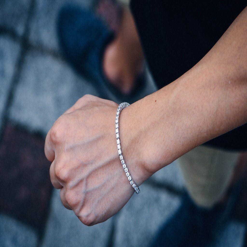 3mm White Iced Out Tennis Bracelet Tennis Bracelet Bracelets White Gold