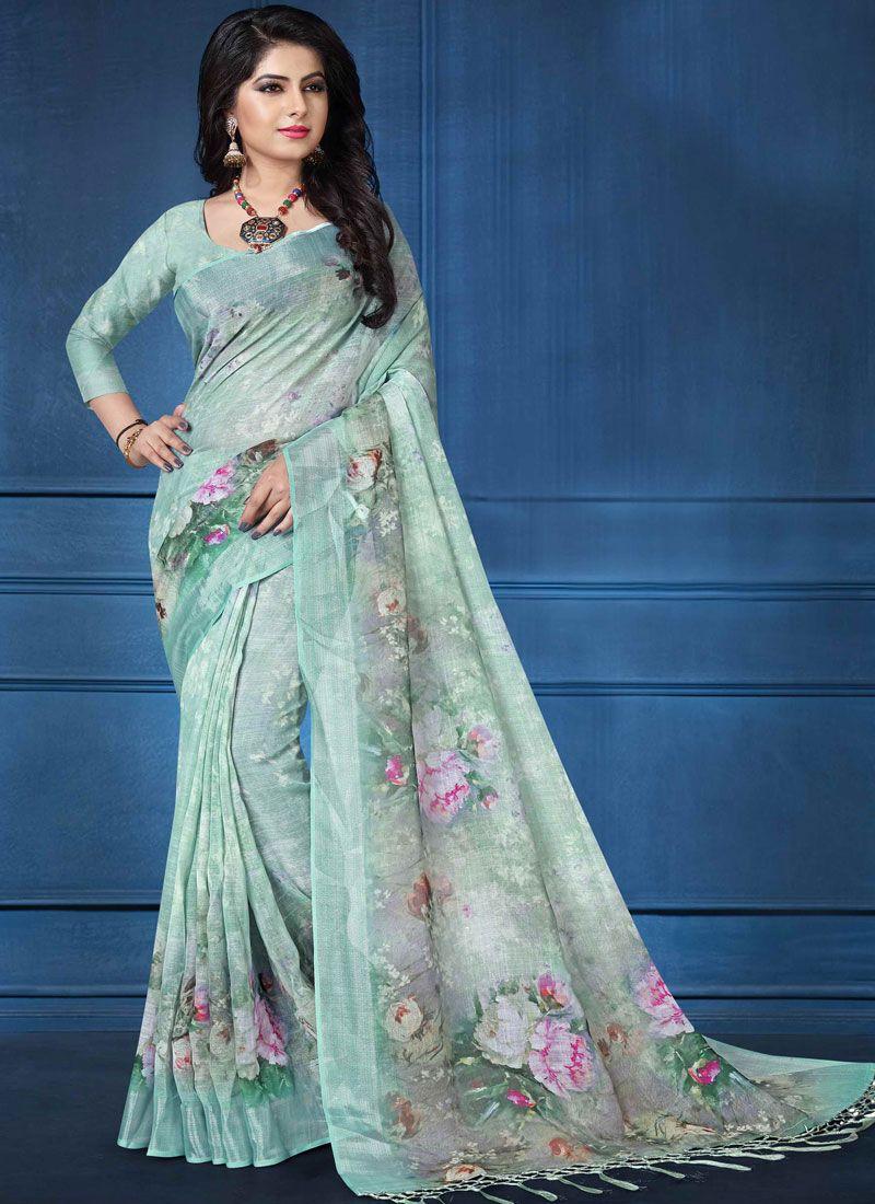 040c204ecf Linen Digital Print Printed Saree in Multi Colour | Sarees in 2019 ...