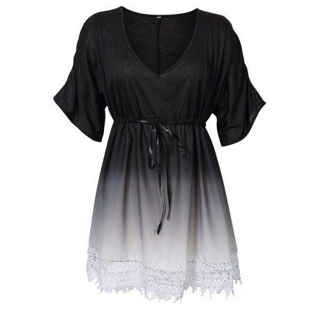 Women Plus Size Casual V neck Contrast Lace Trim Summer Dress Colour