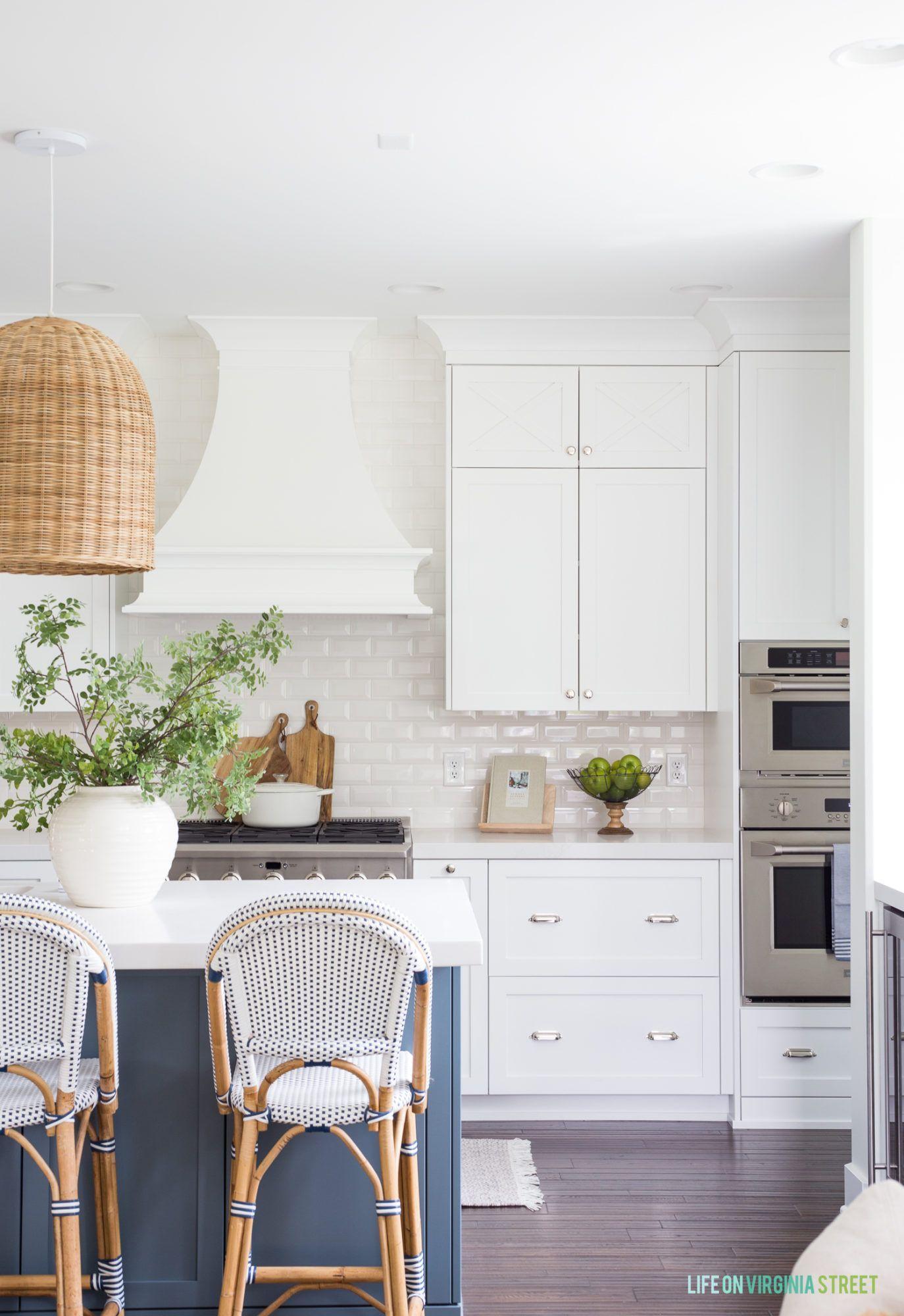 White shaker style cabinets with custom range
