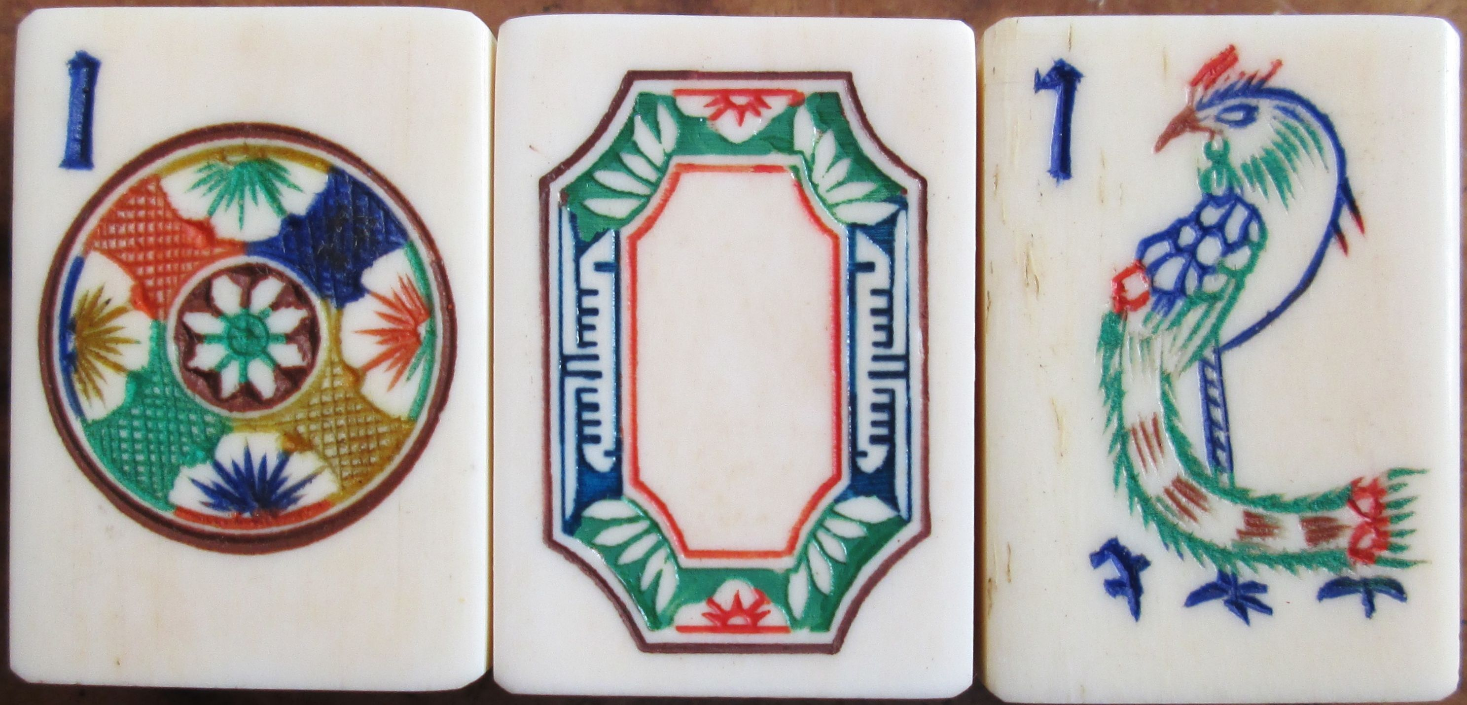 Vintage 1920s Bone And Bamboo Mahjong Tiles Wonderful One Dot And Phoenix One Bamboo The White