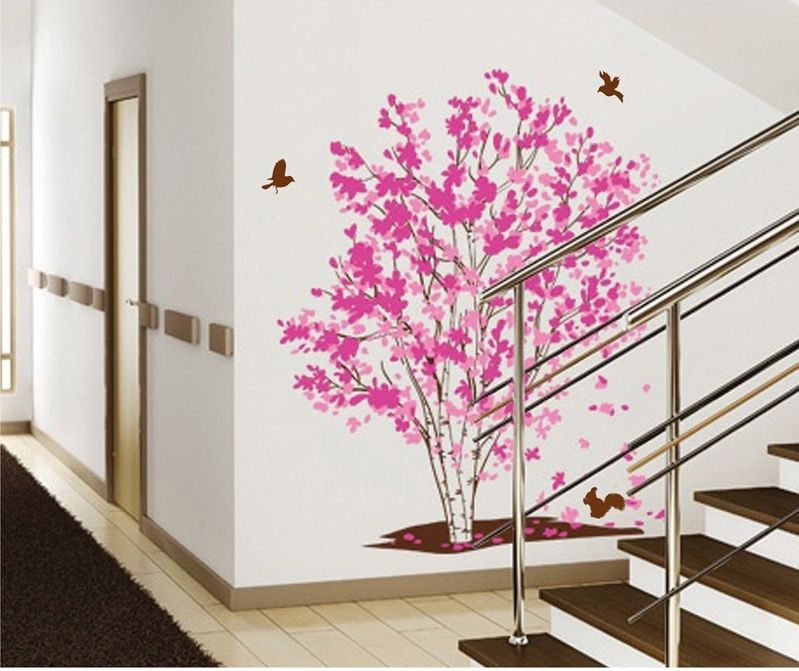 grand arbre romantique rose stickers sticker mural filles fleur d
