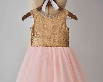 Champagne Sequin Tulle Flower Girl Dress Junior by MonbebeLagos