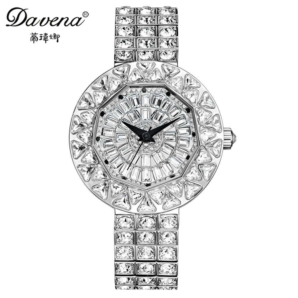 166.91$  Watch now - http://alippc.worldwells.pw/go.php?t=32686701950 - Luxury big shine dazzling crystal bling rhinestone watch Women fashion casual quartz original watches Brand Davena 61050 clock