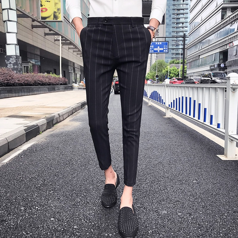 Pantalones A Rayas De Verano 2019 Pantalones Informales Para Hombre Pantalones A Cuadros De Of Formal Dress Pants Striped Formal Dresses Slim Fit Dress Pants