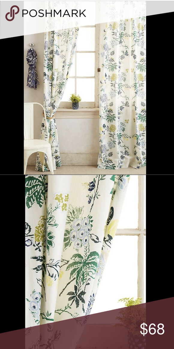 Anthropologie Tan Blue Green Floral Curtain Panel Nwt Floral Curtains Anthropologie Shower Curtain Panel Curtains