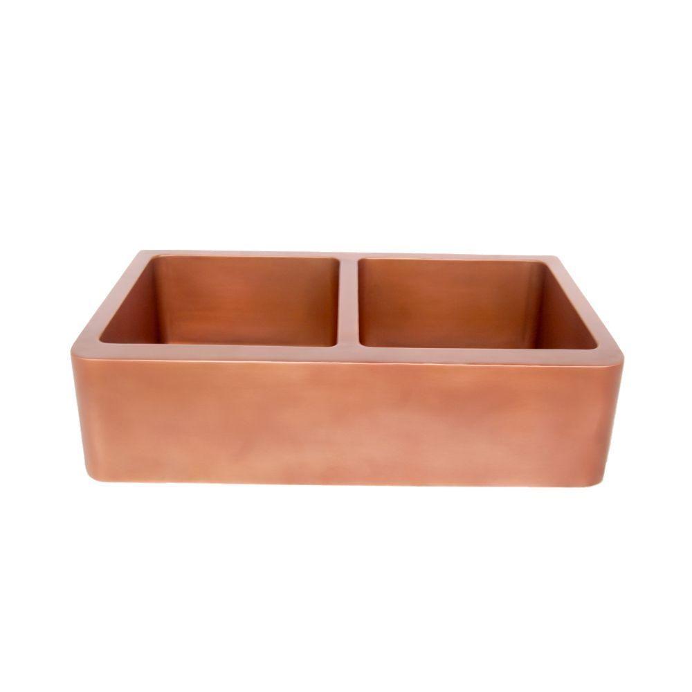 36 doublebowl copper farmhouse sink 5050 split