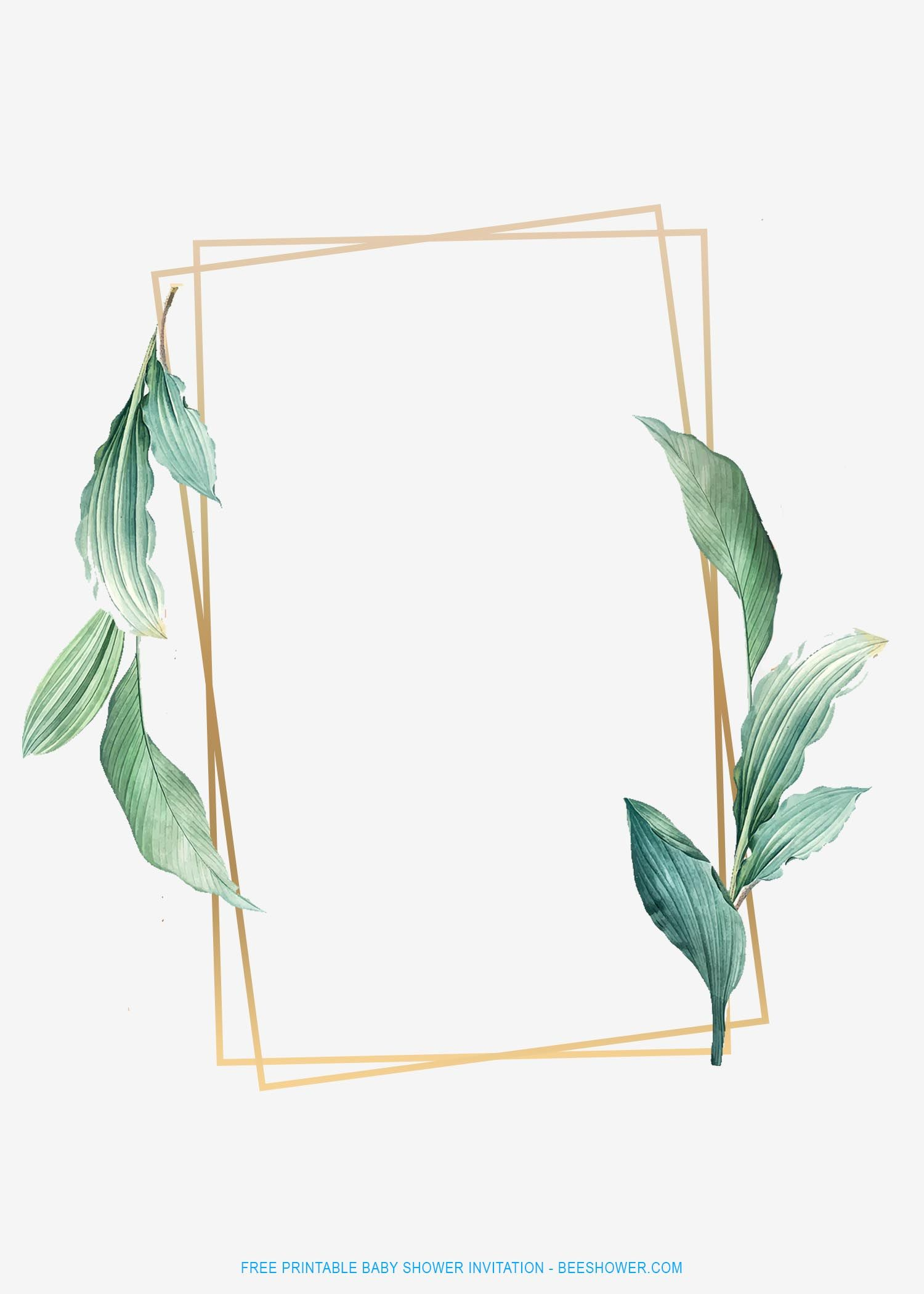 Free Printable Gold Frame And Tropical Leaf Invitation Templates Leaf Invitations Tropical Leaves Free Printable Baby Shower Invitations