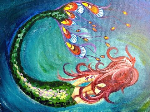How To Paint A Mermaid Easy Beginner Full Acrylic Art Lesson Mermaid Painting Little Mermaid Painting Rock Painting Patterns