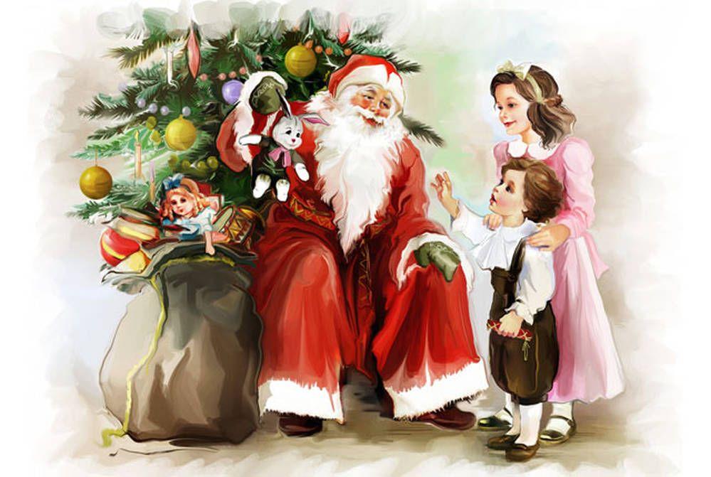 Открытка дети и елка