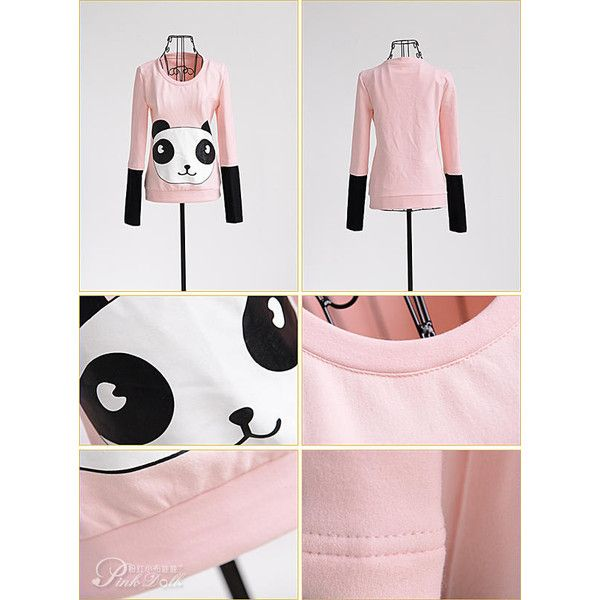 Appliqué-Panda Inset-Sleeve Sweatshirt (540 ZAR) ❤ liked on Polyvore featuring tops, hoodies, sweatshirts, white sweatshirt, applique sweatshirts, sleeve top, white top and shell tops