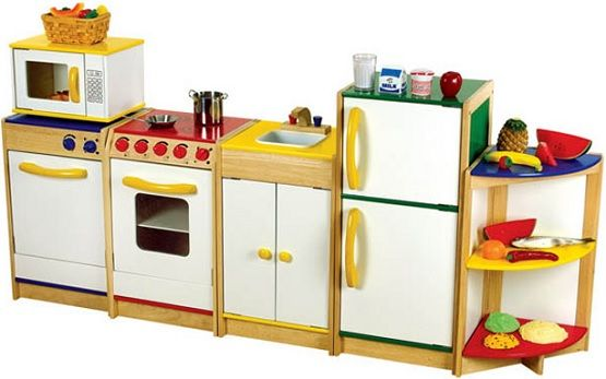 White wooden play kitchen set with rack kids furniture for Toy kitchen set
