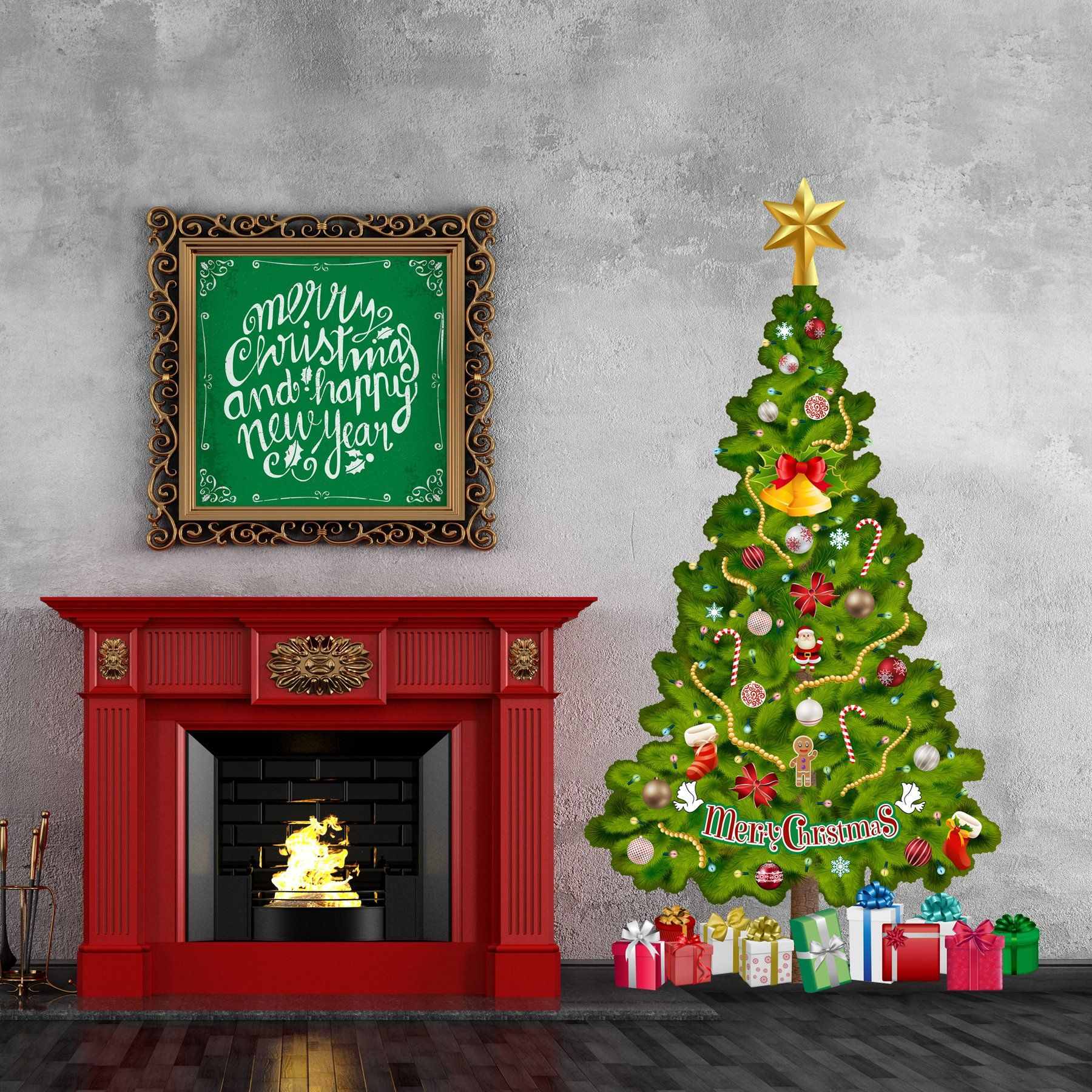 Tree In A Tube Lifesize Deluxe Christmas Tree Wall Decal Reusable