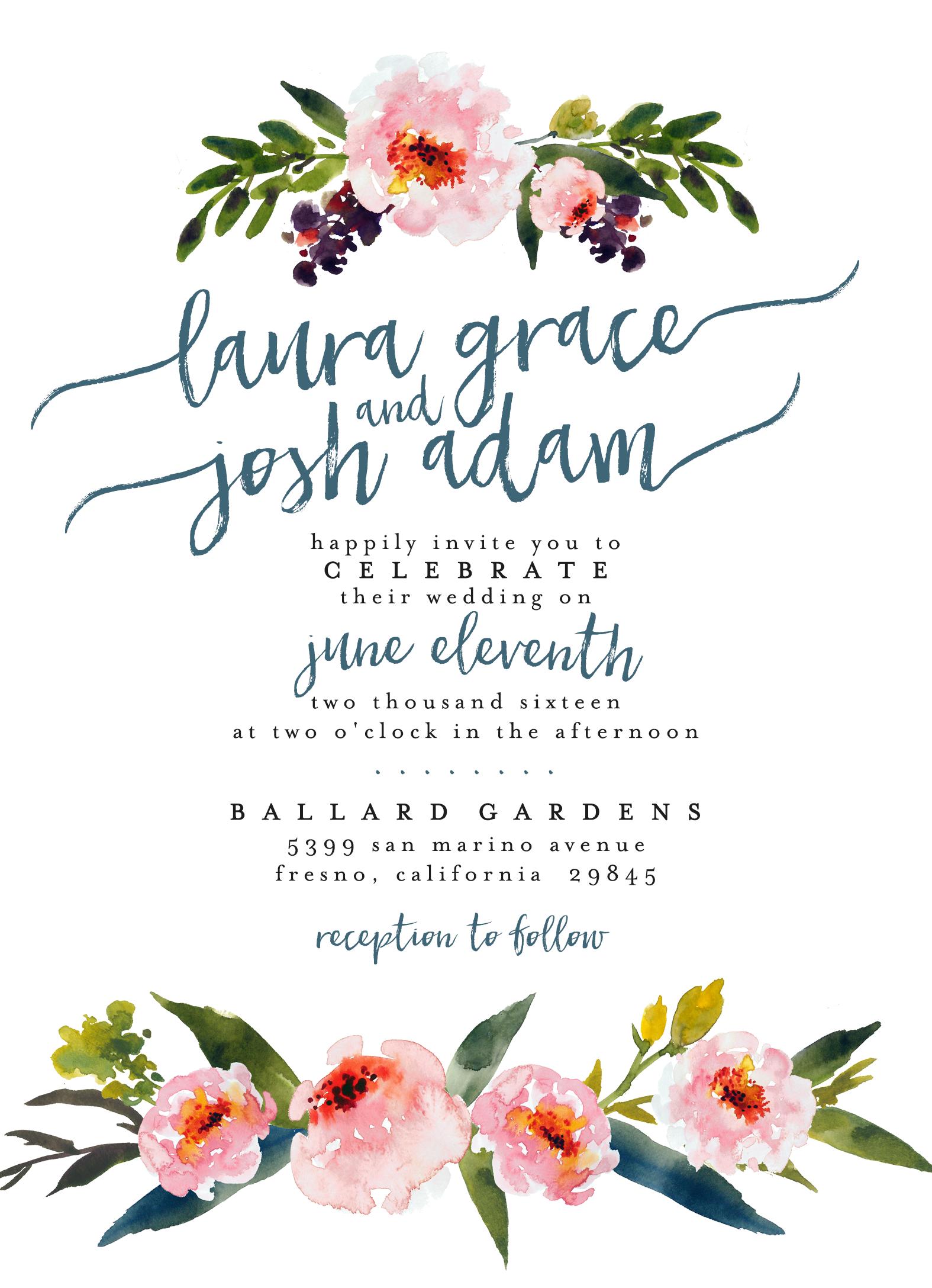 Watercolor Floral Wedding Invitation ∕∕ Printable, Custom, DIY ...